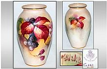 Royal Worcester Hand Painted Vase, fruit study, si