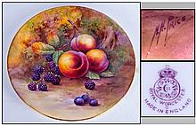 Royal Worcester Hand Painted Cabinet Plate ' Fruit