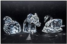 Swarovski Crystal Figures, 3 in total, 1. Swan, La