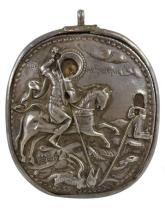 RUSSIAN: Silver Dual sided Icon St. George