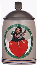 Stoneware stein, .5L, transfer & enameled, child