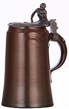 Stoneware stein, 1.0L, marked Scharvogel, Art