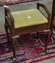 Queen Anne style, pad foot vanity stool-