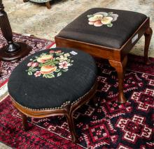 Two needlepoint stools- one queen anne,