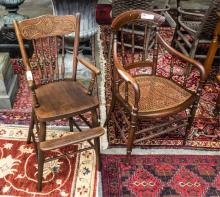 Child's youth chair & Victorian arm office chair