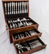 Grand Baroque Sterling flatware set by Wallace