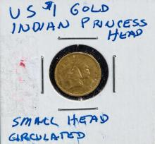 US $1 gold Indian princess small head