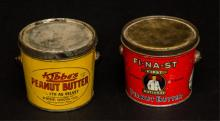 Two Peanut butter tins- Kibbe's &  Fi-na-st First