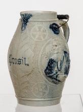 Large German cobalt decorated stoneware beer
