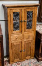 Sm. oak glass front cabinet- approx 48 1/2