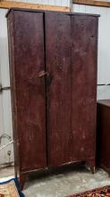 Yellow pine original red paint cupboard