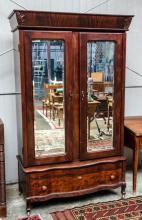 Mahogany beveled mirror wardrobe- approx 46