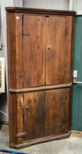 Southern yellow pine early corner cupboard-