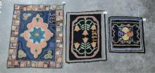 Three small hook rugs - One with mosaic pattern
