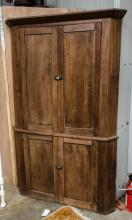 Poplar four door corner cupboard - two piece