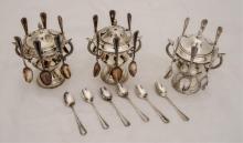 Silver plate three sugar bowls with