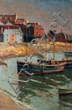 Gryth Russell Fishing Town Oil on board 20
