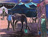 Joseph Benjamin O'Sickey (1918-2013) Circus Scene, Feeding the Horses, Pastel on paper,