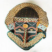 A Royal Kuba Tribe Carved Wood Mask, Democratic Republic of the Congo, 20th Century,