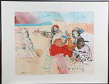 Miguel Conde (American, b. 1939) Scene with Five Figures, Watercolor on paper,