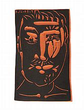 Pablo Picasso (1881-1973) Face of a Man, 1966, Terracotta and black paint plaque,