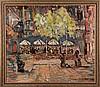 Nate Dunn (1896-1983) City Scene, Oil on canvas.