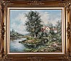 M. Torrens (20th Century) River Scene, Oil on canvas,