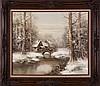 F. Wagner (20th Century) Winter River Scene, Oil on canvas,
