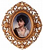 A Continental Porcelain Painted Plaque of A Neapolitan Portrait Depicting a Gypsy Boy, 19th Century,