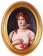 A Continental Porcelain Painted Plaque of Queen Louise after Richter, 19th Century,