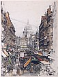 Luigi Kasimir (1881-1962) London Fleet Street, Etching,