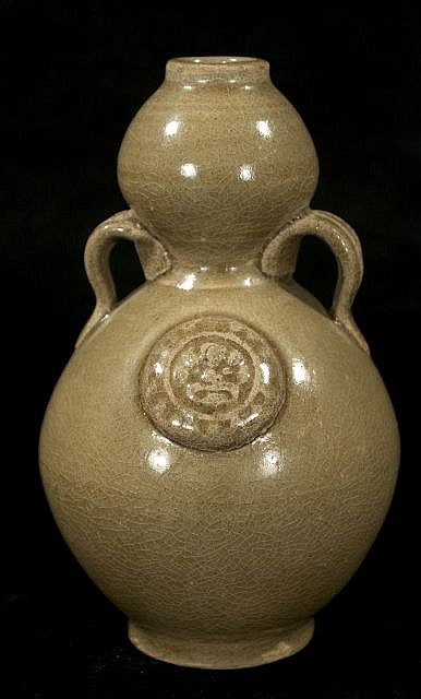 A Chinese Longquan Style Celadon Double Gourd Vase.
