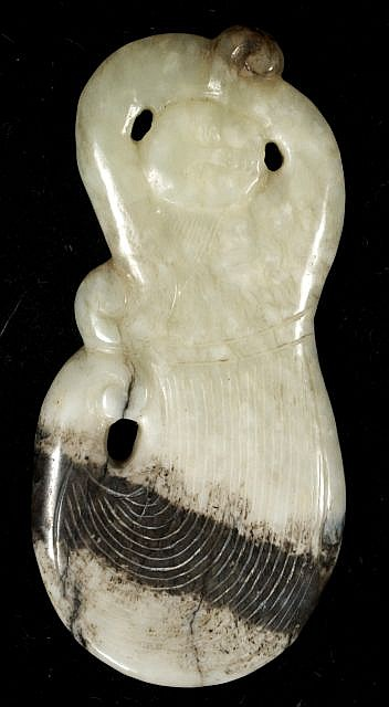 A Chinese Carved White Jade Sleeve Dancer.
