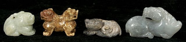 A Group of Four Chinese Carved Jade and Hard Stone Animal Figures Depicting a Horse, Two Lions, and One Double-Headed Lion.