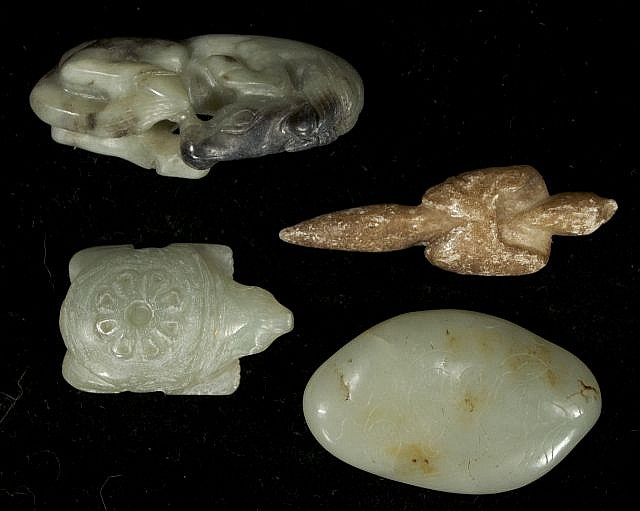 A Group of Four Chinese Carved Jade and Hard Stone Figures Depicting a Horse, a Turtle, and Two Unidentified Forms.
