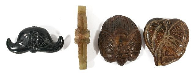 A Group of Four Chinese Carved Jade and Hard Stone Animal Figures Depicting Bats.