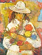 Wadie El Mahdi (1921-2001) Jeune Fille aux Fleurs Oil on canvas., Wadie  El Mahdy , Click for value