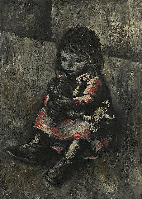 Xavier Bueno (1915-1979) The Girl and the Doll, Oil on board,