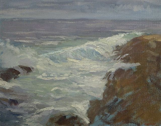 Ron Johnston (20th Century) Pemaquid Rough Seas, Oil on canvas,