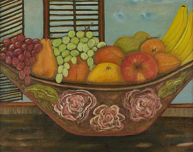 Artist Unknown (20th Century) Still Life with Fruit, Acrylic on canvas.