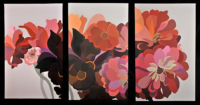 Laura Grosch (b.1945) Dahlias and Zinnias Triptych, Acrylic on canvas,