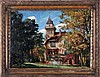 Artist Unknown (19th/20th Century) Garden Scene with House, Oil on board,