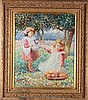 Ann Phillips (20th Century) Children Picking Apples, Oil on canvas,