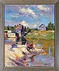 Russian School (Early 20th Century) River Scene with Fishermen, Oil on canvas laid on board,