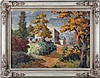 Gerhardt (20th Century) Hillside Village, Oil on canvas,