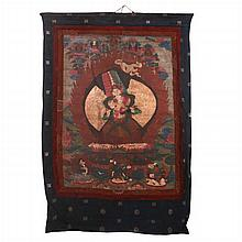 A Tibetan Festival Thangka Depicting the Goddess Usnisa-sitatapatra, 19th Century,