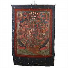 A Tibetan Festival Thangka Depicting Yama Holding the Karmic Wheel of Life, Early 19th Century.