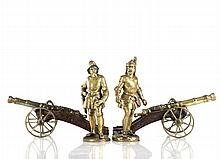 A Pair of Continental Brass Knights in Armor with Cannons, 19th Century.