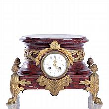 A French Empire Style Rouge Marble and Bronze Dore Mantle Clock, 19th Century,