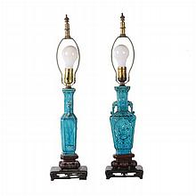 A Pair of Chinese Porcelain Lamps, 20th Century.
